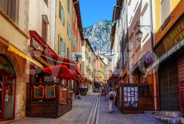 Main pedestrian street of Briancon town, Provence, France Stock Photo