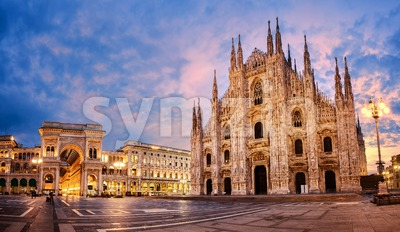 Milan Cathedral on sunrise, Italy Stock Photo