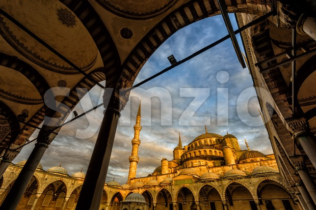 Sultanahmet or the Blue Mosque, Istanbul, on dramatic sunset, Turkey