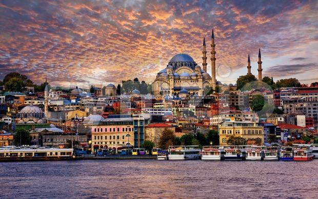 Istanbul city on dramatic sunset, Turkey Stock Photo