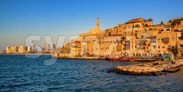 Jaffa Old Town and Tel Aviv skyline, Israel Stock Photo