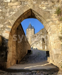Medieval walls and towers of Carcassonne, Languedoc, France Stock Photo