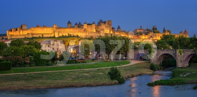 Carcassonne medieval Old Town, Languedoc, France Stock Photo