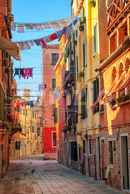 Clothes lines on a street in Venice, Italy Stock Photo