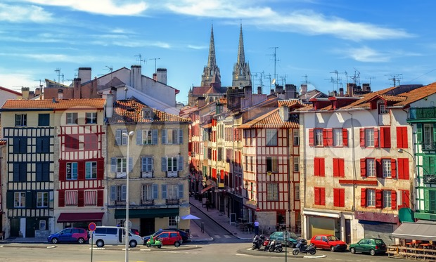Old Town center of Bayonne, France Stock Photo