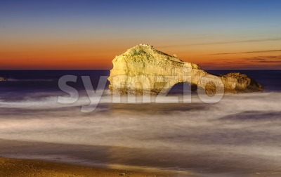 The Pierced Rock, Miramar Beach, Biarritz, France Stock Photo