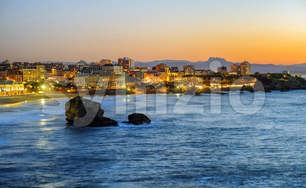 Biarritz city, Bay of Biscay, Basque Country, France Stock Photo