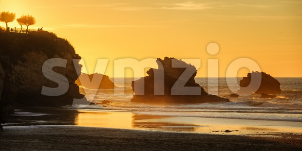 Sunset on the Grande Plage beach, Biarritz, France Stock Photo