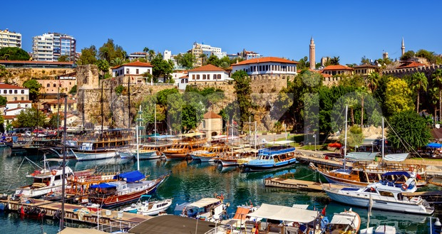 The old harbor in the Kaleici Old Town of Antalya, Turkey