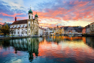 Sunset over the old town of Lucerne, Switzerland Stock Photo