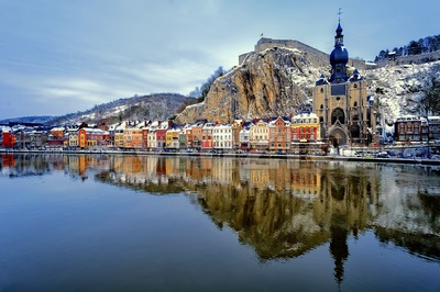 The citadel, Collegiate Church and Meuse, Dinant, Belgium Stock Photo