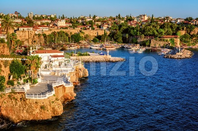 Antalya, Turkey, the Kaleici Old Town and harbour Stock Photo