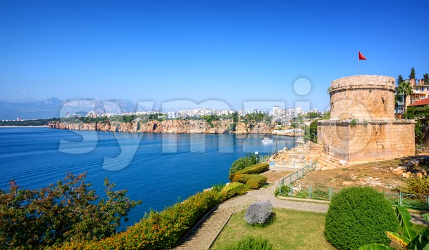 Panoramic view of Antalya, Turkey, a famous resort town on turkish Riviera