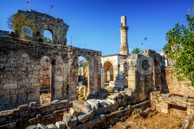 Historical Kesik Minaret Mosque in Kaleici, Antalya Old Town, Turkey Stock Photo