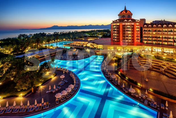 Luxurious all inclusive hotel on turkish Riviera, Antalya, Turkey Stock Photo