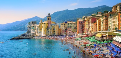 Mediterranean beach in Camogli, Liguria, Italy Stock Photo