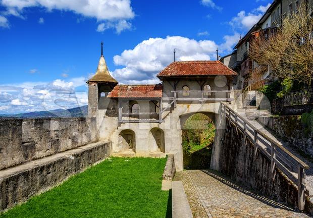 Gruyere Old Town ramparts, Switzerland Stock Photo