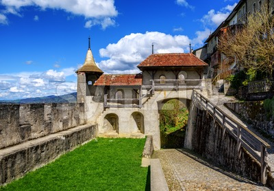 Gruyere Old Town ramparts, Switzerland Stock Photo