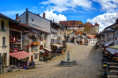 Old Town of Gruyeres, Switzerland Stock Photo