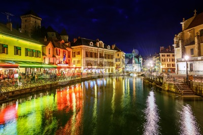 Annecy Old Town, Savoy, France, at night Stock Photo