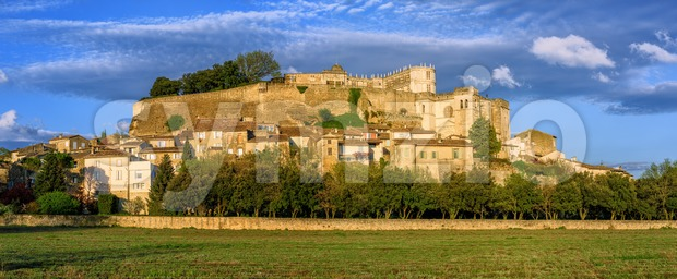 Medieval Old Town of Grignan with Renaissance Castle, cathedral and traditional stone houses, Drome, France