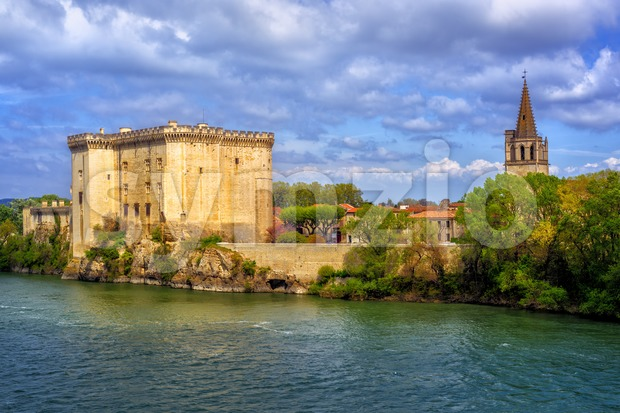 Tarascon castle on the Rhone river, France Stock Photo