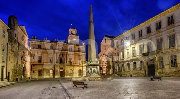 Arles Old Town at night, Provence, France Stock Photo