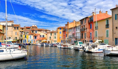 Colorful houses in the harbor of Martigues, France Stock Photo