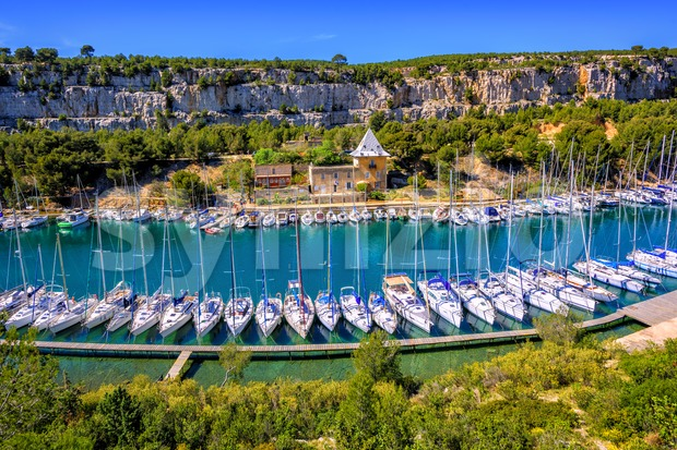 White yachts in Calanque de Port Miou by Marseille, Provence, France