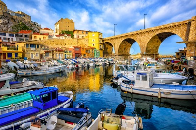 Old fishing port in Marseilles, Provence, France Stock Photo