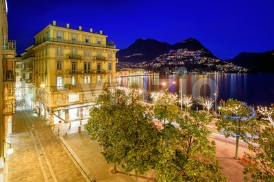 Lake Lugano and Monte Bre, Switzreland, at night Stock Photo