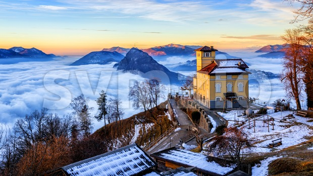 Clouds over Lake Lugano, Switzerland, in winter Stock Photo