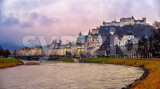 Historical Old Town of Salzburg city on Salzach river, Austria, is listed as UNESCO World Culture Heritage Site
