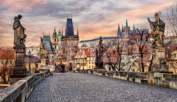 Charles bridge and Prague castle on sunset, Czech Republic Stock Photo