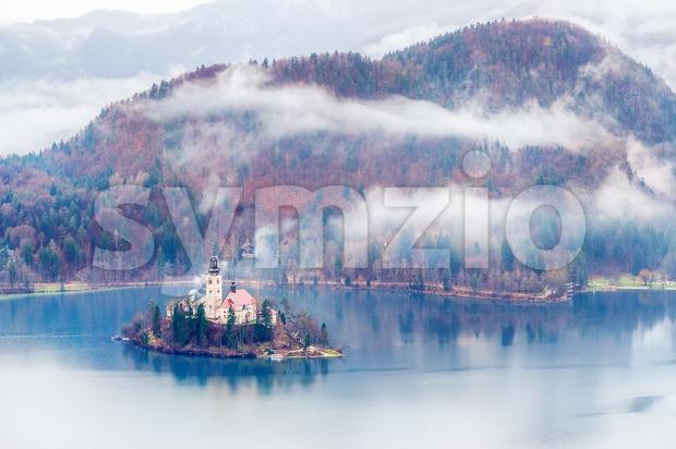 Bled Lake on a misty autumn day, Slovenia Stock Photo