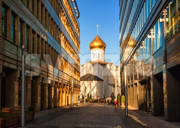 Orthodox church and office buildings in Moscow, Russia Stock Photo