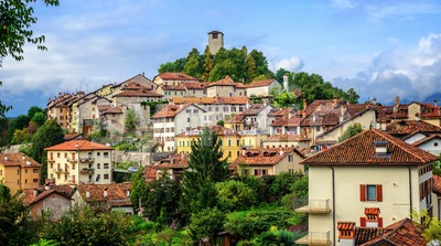 Feltre historical Old Town in Dolomites Alps, Italy Stock Photo