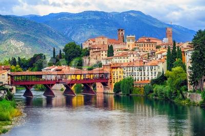 Bassano del Grappa Old Town and Ponte degli Alpini bridge, Italy Stock Photo