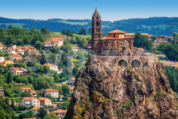 Saint Michel d'Aiguilhe chapel sitting on a rock in Le Puy en Velay, France
