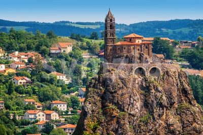 Saint Michel d'Aiguilhe Chapel in Le Puy en Velay, France Stock Photo