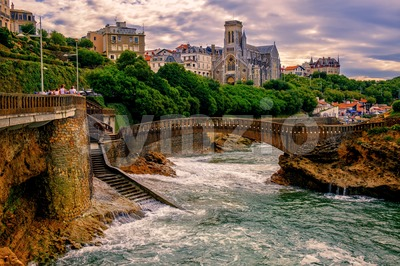 Biarritz town on sunset, France Stock Photo