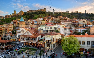 Tbilisi Old Town, capital city of Georgia Stock Photo