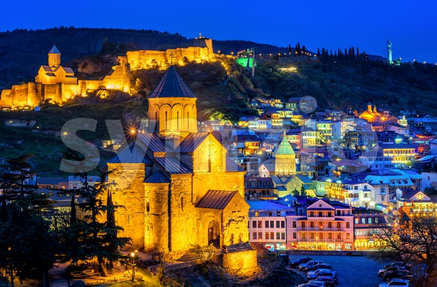Tbilisi historical Old Town, Georgia, illuminated at night Stock Photo