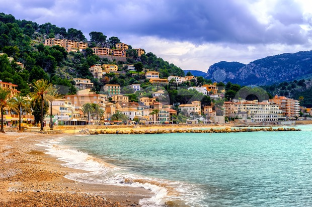 Port de Soller sand beach, Mallorca, Spain Stock Photo