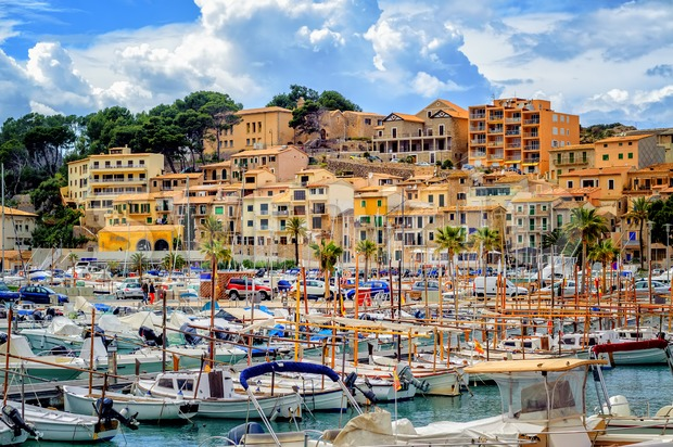 Port de Soller historical Old Town, Mallorca, Spain Stock Photo