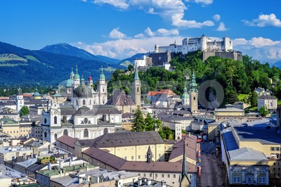 Salzburg city, Austria, Old Town and Hohensalzburg castle Stock Photo
