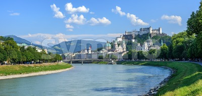 Panoramic view of Salzburg Old Town, Austria Stock Photo