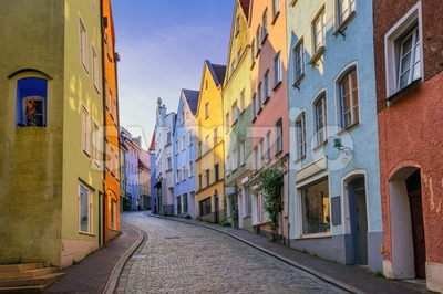 Gothic houses in the Old Town of Landsberg am Lech, Germany Stock Photo