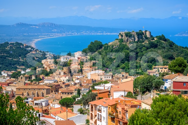 Begur Old Town and Castle, Costa Brava, Spain Stock Photo