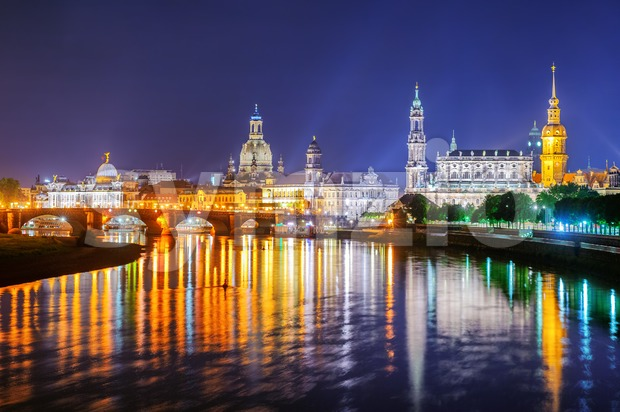 Dresden Old Town at night, Germany Stock Photo